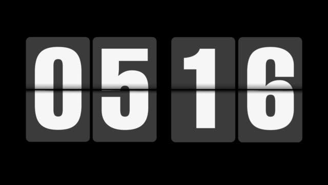 vídeos de stock, filmes e b-roll de flip relógio, 6 horas em fundo preto - número 5