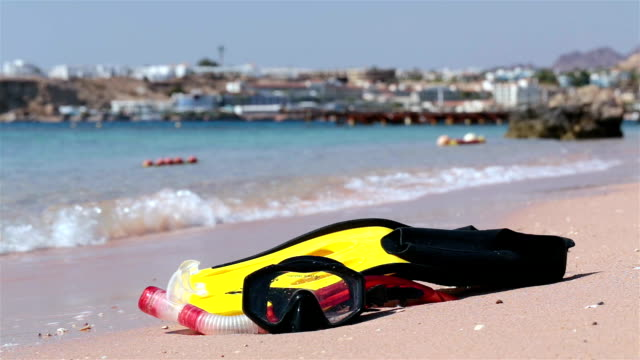 Flippers and mask for diving on the beach of the Red Sea.