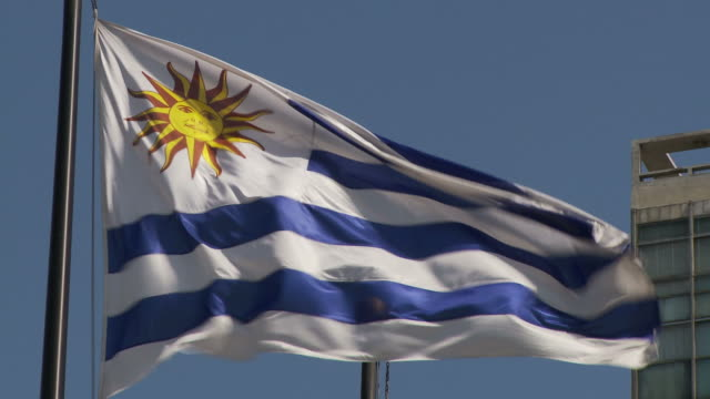 stockvideo's en b-roll-footage met flipping flag uruguay - uruguay