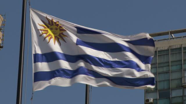 flipping flag uruguay - uruguaian flag stock videos & royalty-free footage