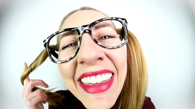 flirting nerdy woman with pigtails - pigtails stock videos & royalty-free footage