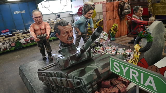 float that depicts 'putings panzerfahrt' during a press preview by the mainzer carnival club on february 18, 2020 in mainz, germany. the russian... - satire stock videos & royalty-free footage