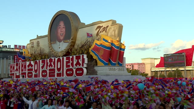 A float with an image of Kim JongUn takes part in a military parade at Kim Ilsung Square Pyongyang