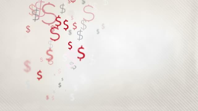Floating Dollar Symbols Background Loop - Pastel Red & Black HD