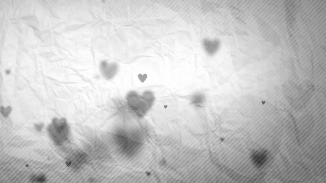 floating hearts background loop - soft grey on paper (hd) - black and white stock videos & royalty-free footage