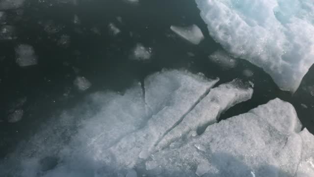 vídeos de stock e filmes b-roll de floating icebergs in columbia glacier area in alaska - gelo picado