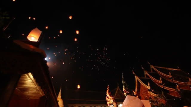 floating lantern in loi krathong traditional festival. - paper lantern stock videos and b-roll footage