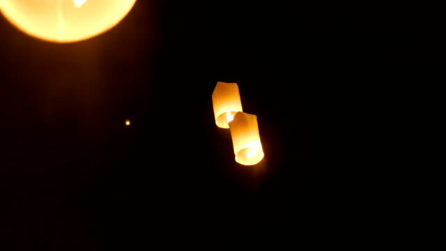 Floating Lantern in Yi Peng Festival, Chiang Mai Province, Thailand