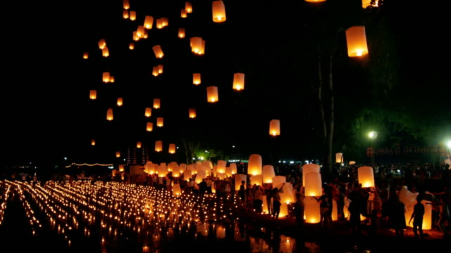 Schwimmende Laterne, Yee Peng Festival, Chiangmai Thailand, Time Lapse Bewegung
