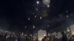 Floating lanterns and fireworks Yee Peng Festival, Loy Kra thong in Chiang mai, Thailand