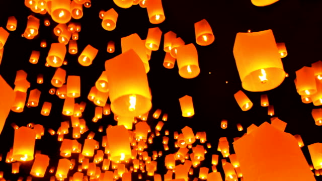floating lanterns. - paper lantern stock videos and b-roll footage