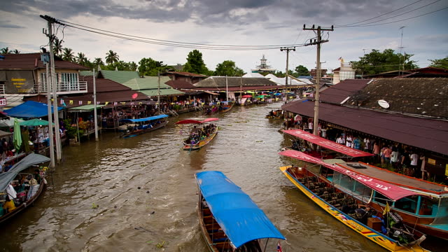 Floating market at twilight.
