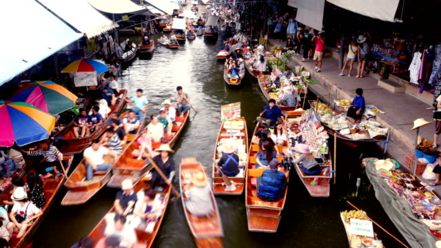 floating market, bangkok, thailand - thailand stock videos & royalty-free footage