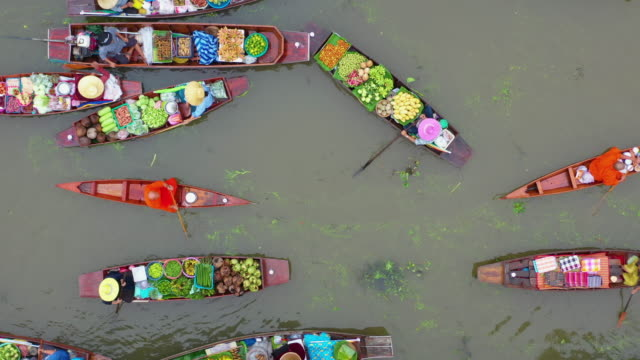 floating market traditional culture of thailand - local landmark stock videos & royalty-free footage