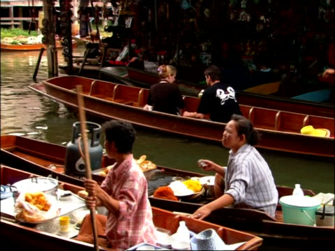 MS floating markets, Bangkok, camera pans left following boat, Bangkok, Thailand