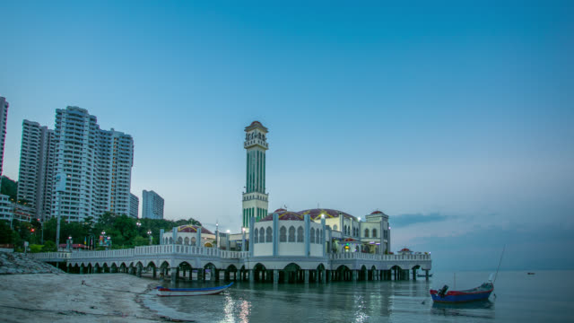 floating mosque tanjung bungah - penang stock videos and b-roll footage
