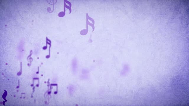 stockvideo's en b-roll-footage met zwevende muzikale achtergrond paars loopbare - voorraad video - noot