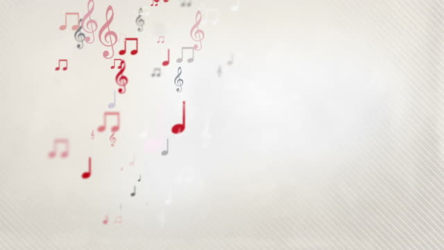 floating musical notes - red (full hd) - musical theater stock videos and b-roll footage