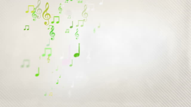 stockvideo's en b-roll-footage met floating musical notes - yellow green (full hd) - noot