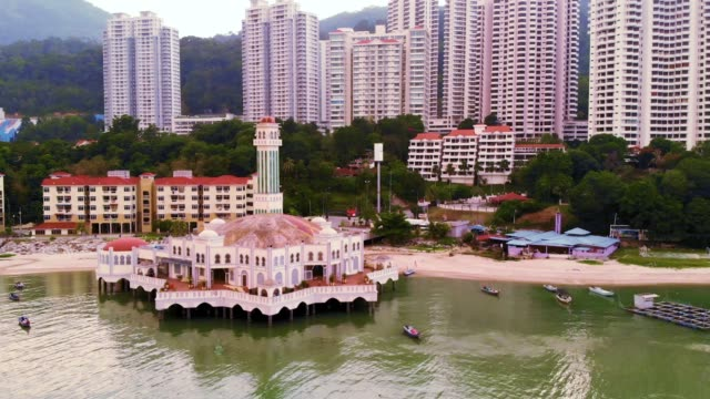 floating muslim mosque in penang - penang stock videos and b-roll footage
