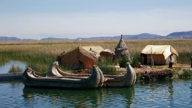 floating reed islands at lake titicaca near puno, peru - reed grass family stock videos & royalty-free footage