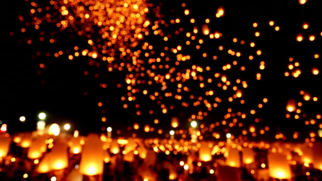 floating sky lantern traditional festival - releasing stock videos and b-roll footage