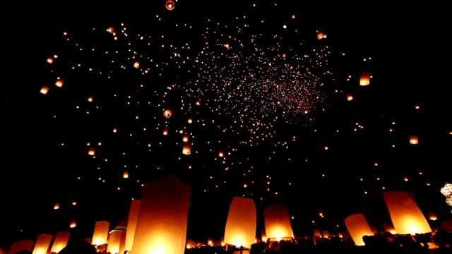floating sky lantern - releasing stock videos and b-roll footage