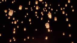 Floating sky lanterns in Loy Krathong festival , Chiang Mai ,Thailand.