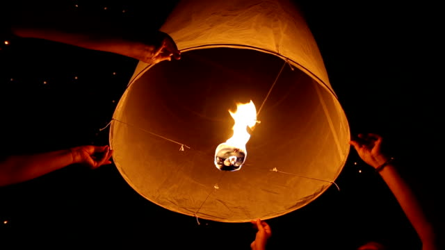 floating skylantern 4 shots - taiwan stock videos and b-roll footage
