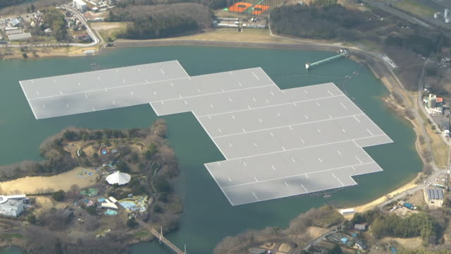 aerial, floating solar power plant, chiba, japan - hydroelectric power stock videos & royalty-free footage
