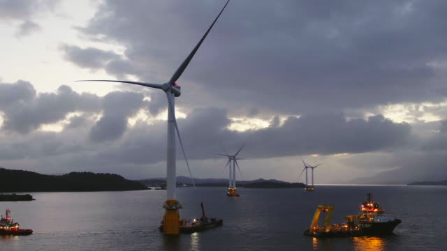 floating wind turbines being transported from norway to scotland - north sea stock videos & royalty-free footage