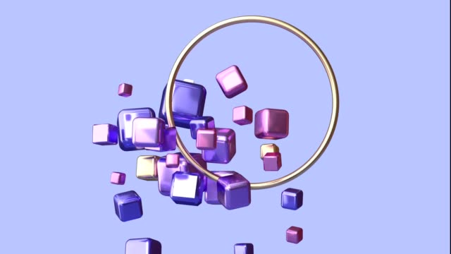 floating/levitation purple scene geometric metallic shiny shape texture gold frame 3d rendering motion graphic - zero gravity stock videos & royalty-free footage