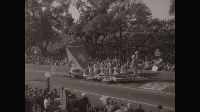 ws floats in the rose bowl parade / los angeles, california, united states - western script stock videos & royalty-free footage