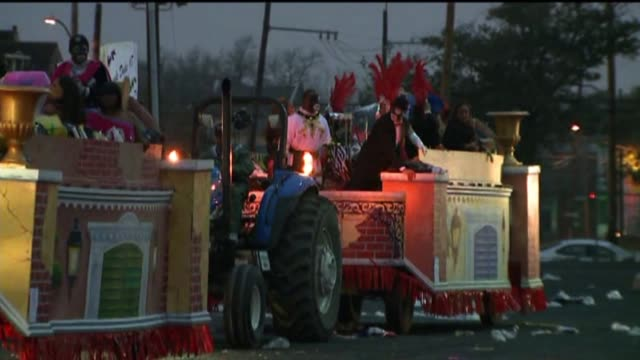wgno floats on the street during mardi gras on february 12 2013 in new orleans louisiana - gras stock videos and b-roll footage