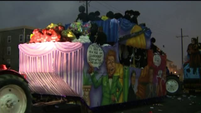WGNO Floats Prepare To Parade Down The Street During Mardi Gras on February 12 2013 in New Orleans Louisiana
