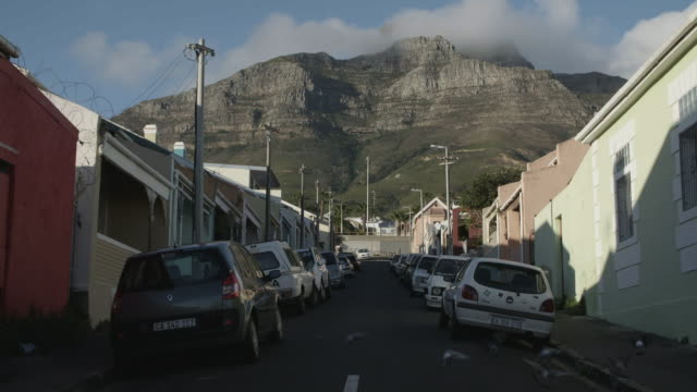 flock of birds take flight in slow motion with table mountain in background - 南ア テーブルマウンテン点の映像素材/bロール