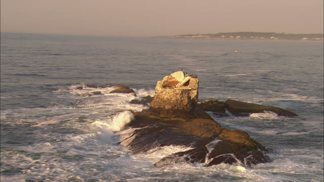 low aerial, flock of cormorants perching on lighthouse ruin on rock surrounded by crashing surf, near newport, rhode island, usa - surf rock stock videos & royalty-free footage
