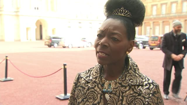 floella benjamin receives damehood for services to charity england london buckingham palace ext dame floella benjamin interview sot - floella benjamin stock videos & royalty-free footage