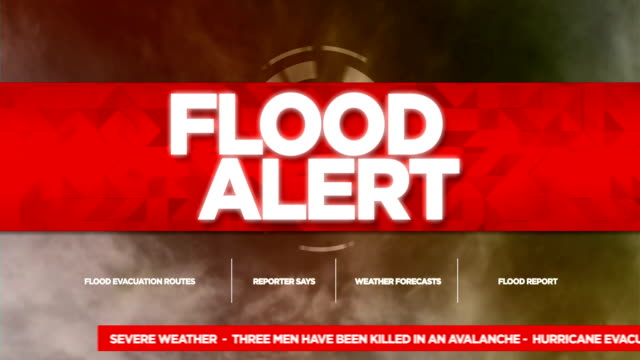 flood alert broadcast tv graphics title - evacuazione video stock e b–roll