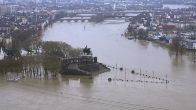 Flood at Deutsches Eck of rivers Rhine and Moselle, January 2018, Koblenz, Rhineland-Palatinate, Germany