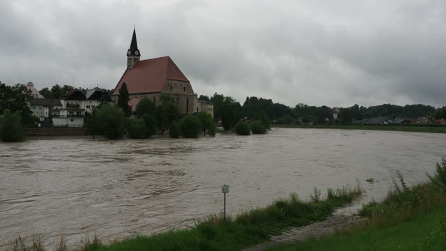 flood at river salzach and the city of laufen, bavaria july 2021 - traditionally austrian stock videos & royalty-free footage