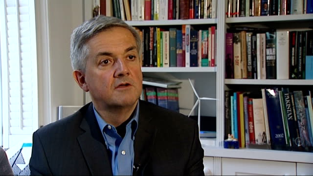 flood defence spending put on hold by government cuts; int chris huhne interview sot - the cuts happened when the government came in in 2010 / had a... - 画面切り替え カットアウェイ点の映像素材/bロール