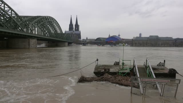 flood of river rhine at deutzer werft, cologne, january 2018, north rhine-westphalia, germany - circa 15th century stock videos & royalty-free footage