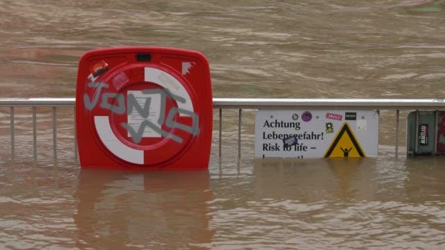 stockvideo's en b-roll-footage met flood of river rhine at rheingarten, cologne, january 2018, north rhine-westphalia, germany - westers schrift