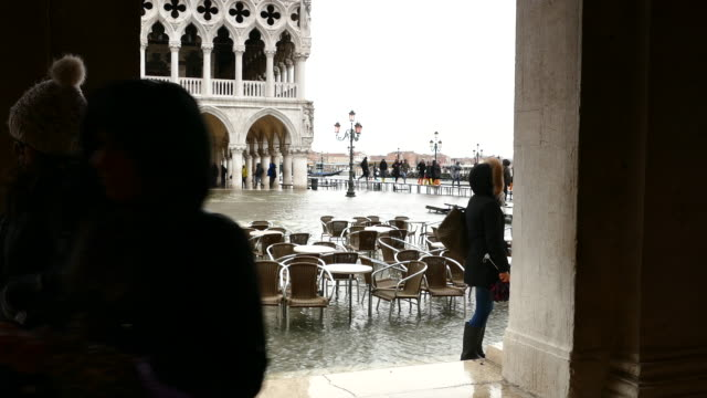 4K Flood on St. Marc's square in Venice, Italy