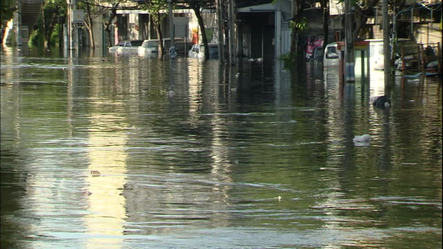 Flood water covers Bangkok city streets