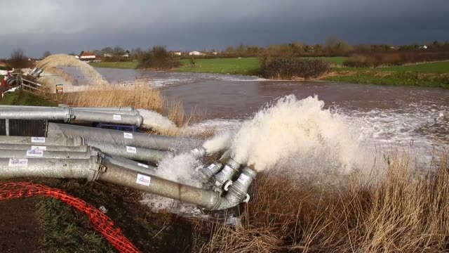flood water is seen pumped into the river at the pumping station near fordgate on the somerset levels near bridgwater on february 9, 2014 in... - somerset stock videos & royalty-free footage
