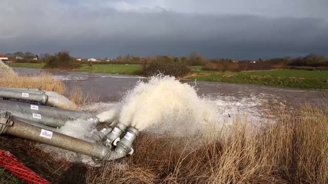 pan flood water is seen pumped into the river at the pumping station near fordgate on the somerset levels near bridgwater on february 9 2014 in... - somerset levels stock videos and b-roll footage