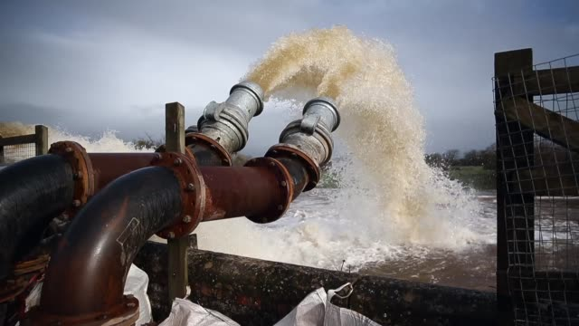 ms flood water is seen pumped into the river at the pumping station near fordgate on the somerset levels near bridgwater on february 9 2014 in... - somerset levels stock videos and b-roll footage