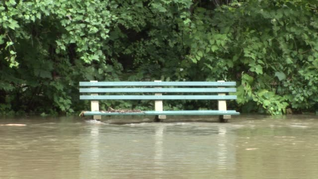 flood waters rush past park bench. zoom back to reveal flooded parkway bronx river parkway flooded on august 28, 2011 in scarsdale, new york - hurricane irene stock videos & royalty-free footage